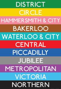Kolory linii metra w Londynie