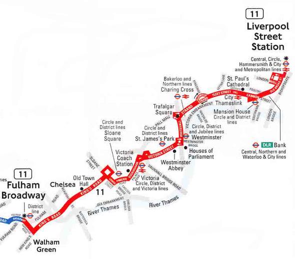 autobus 11 mapa