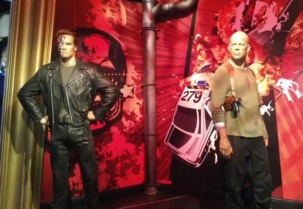 Arnold Schwarzenegger i Bruce Willis w Madame Tussauds w Londynie