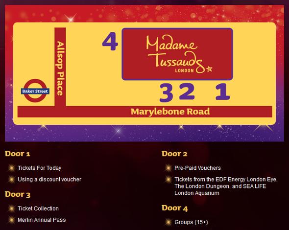 wejścia do Madame Tussauds w Londynie